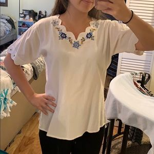 White Embroidered Tee from Ecuador